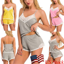 Womens Sexy Lingerie Lace Cotton Pajamas Sleepwear Cami Shorts Set Nightwear