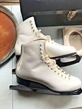 John Wilson Sheffield England Blades Upper Leather White Figure Ice Skates Sz 9