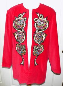 Red Velvet Bob Mackie Holiday Embroidered Jacket Size Large B44