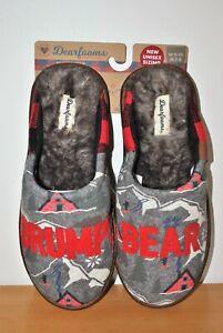Dearfoams Men's Gray Grumpy Bear Memory Foam Scuff Slippers  - Size 7-8
