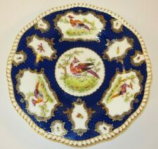 "Antique Coalport Exotic Birds Pheasants & Bugs 9"" Scale Blue Gilded Plate c1895"