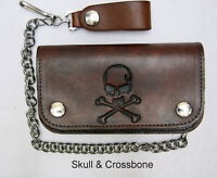 "Leather Chain Wallet Brown Bi-Fold Embossed Skull Crossbone  Biker Trucker 6"" #6"
