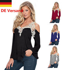 DE Damen Spitze Schulterfrei Locker Sommer Tuniken T-shirt Tops Tunika Oberteil