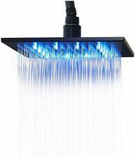Bathroom Rainfall 12-inch Shower Head LED Light Overhead Spray Oil Rubbed Bronze