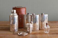 Vintage Mark Cross British leather travel barware set 3 flasks cocktail shaker