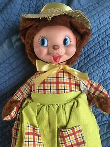 Vintage Gund Rubber Face Lady Bear With Pre-1963 Zip Code~Very Good Condition!