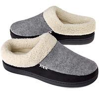 VONMAY Men's Memory Foam Comfort Slippers Wool-Like Lining Slip on House Shoes