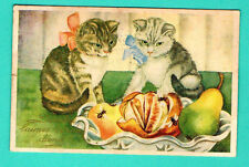 LATVIA LETTLAND CATS Orange pear AND Fly VINTAGE POSTCARD 338