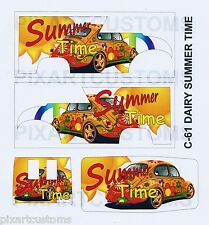 C-61 FOR HOT WHEELS CUSTOM DAIRY DELIVERY SUMMER TIME WATERSLIDE DECAL SET 1:64
