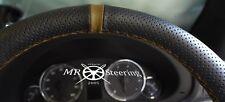 Para 2007-14 Mazda 2 Real Cuero Perforado Volante Cubierta + Correa Marrón