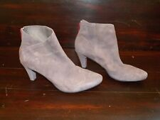 New Womens TSUBO Felecia Suede Charcoal Short Ankle Zip Up High Heel Booties