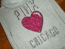 Victoria's Secret PINK Gray Sequin Bling CHICAGO Heart Front Zip Hoodie Sz S VGC