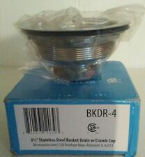 "Bk Resources Bkdr-4, 3-1/2"" Stainless Basket Drain W/Crumb Cup, Free Shipping"