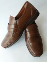 U5 - Clarks Men's Brown Leather Extra Wide Fit Loafers Shoe Formal UK Size 9 /43