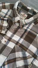 WOOLRICH Men's Long Sleeve Plaid Brown Flannel Shirt Size XXL 2XL Oxford Collar