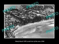 OLD LARGE HISTORIC PHOTO OF MANLY NSW AERIAL VIEW OF THE BEACH c1960