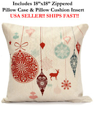 "18x18 18"" MERRY CHRISTMAS XMAS HOLIDAY ORNAMENTS Zippered Pillow Case & Cushion"