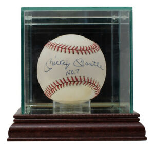 Mickey Mantle Signed Yankees American League Baseball No.7 Inscribed w/ Case UDA