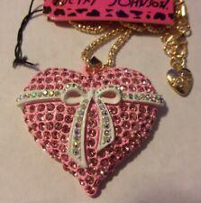 """BETSEY JOHNSON PINK CRYSTAL PENDANT VALENTINE HEART W BOW 26"""" NECKLACE & BROOCH"""