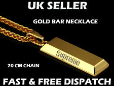 Supreme Gold Bullion Bar Necklace Gangsta Hip Hop Chain Bling Bank Bar Gangster