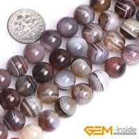"""Natural Botswana Agate Gemstone Round Spacer Loose Beads For Jewelry Making 15"""""""