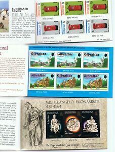 Stamps Gibraltar, 3 No Booklets, ROYAL RESIDENCES, MICHAELANGELO, GIB 74, NMM