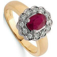 Ruby and Diamond Ring Yellow Gold Engagement Cluster Appraisal Certificate