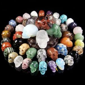 Hand Carved Skull Natural Crystal Healing Gemstone Realistic Carving Collectible
