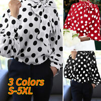 Women Bow Tie Neck Polka Dot Puff Sleeve T-Shirt Casual Top Blouse Tee Plus Size