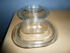 2 VINTAGE USED PYREX REFRIGERATOR 602-B DISHES BOWLS & 602-C LIDS CLEAR GLASS