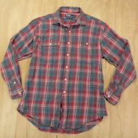Polo Ralph Lauren dungaree workshirt shirt LARGE red blue faded textured plaid
