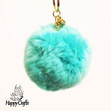 Fluffy Ball Bag Clip Key Ring Light Blue