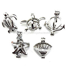 21683 5X/lot Silver Beach Turtle Anchor Starfish Shell Pearl Cage Open Pendant