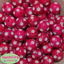 20mm Hot Pink Polka dot Acrylic Chunky Bubblegum Beads 20pc Gumball