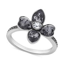Swarovski Bunch Black Crystal Flower Ring Size 55