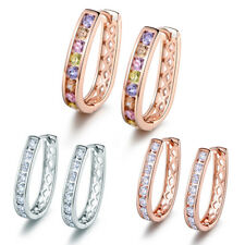 Classic U-Shape Hoop Huggies White / Rose Gold Filled Diamond Lady Party Earring