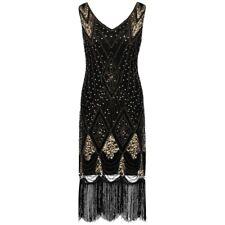 1920s gatsby charleston flapper sequins beads tassels black gold dress UK 10-18