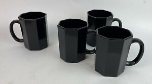 ARCOROC FRANCE OCTIME MUG SET OF 4 black octagonal