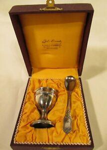 Vintage Silver Egg Cup & Spoon Christening Set - Jules Lenaerts, Antwerp Belgium