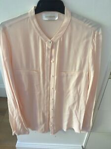 Zimmermann Baby Pink Collarless Silk Button Up Shirt, Sample