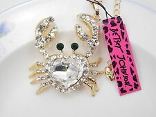 Betsey Johnson cute inlaid Crystal heart crab pendant necklace # F044