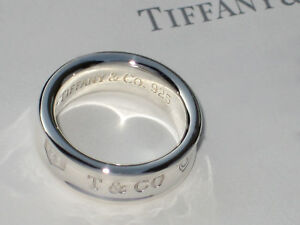 Tiffany & Co Sterling Silver Solid Ring 1837 Concave Thick Band Ring