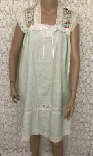 VTG 70s Pin Tuck Mexican Lace boho hippie House Dress MIDI CAFTAN Embroidered