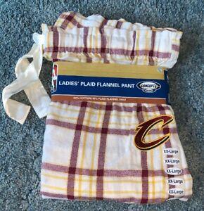 NWT Ladies Cleveland Cavaliers NBA Plaid Flannel Sleep Pants size 2XL.