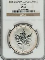 1998 Canada Maple Leaf $5 Titanic 1 Troy OZ Silver Coin NGC SP69