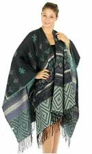 Light Green and Multi Colored Metallic Woven Tribal Oversize Fashion Shawl