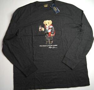 POLO RALPH LAUREN Men's Polo Cocoa Bear Long Sleeve T-Shirt NEW NWT
