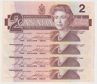 Canada $2 (1986) BC-55c - 4 Consecutive aUNC/UNC Notes ✹CBH677220-3✹ **QC L2**