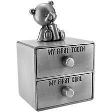 Mogoko Silver Tooth Box, Baby First And Curl Keepsake Set, Kids Teeth Fairy For