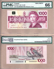 Very Rare Specimen 1988 $1000 Bank of Canada Bird Series in PMG GEM UNC66 EPQ